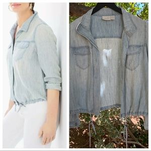 Chico's soft chambray linen Button Down Jacket